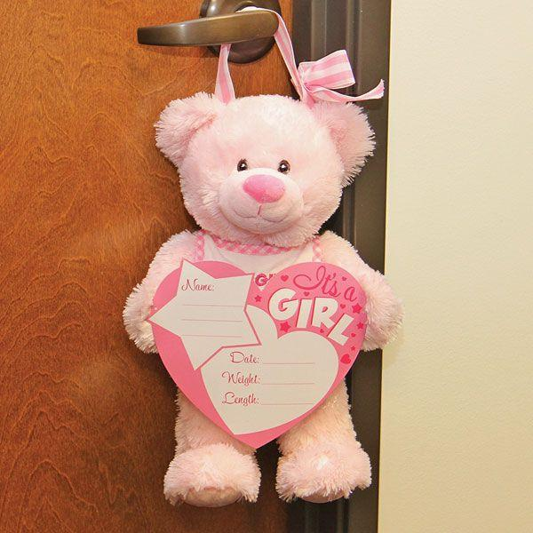 BABY GIRL ANNOUNCEMENT BEAR WITH BOARD AND MARKERS
