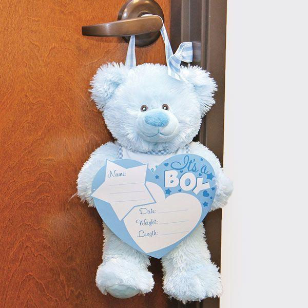BABY Boy ANNOUNCEMENT BEAR WITH BOARD AND MARKERS