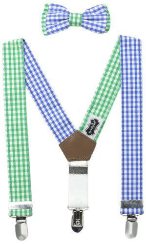 Mudpie Gingham Suspender/Bow Tie Set Boys - JEN'S KIDS BOUTIQUE