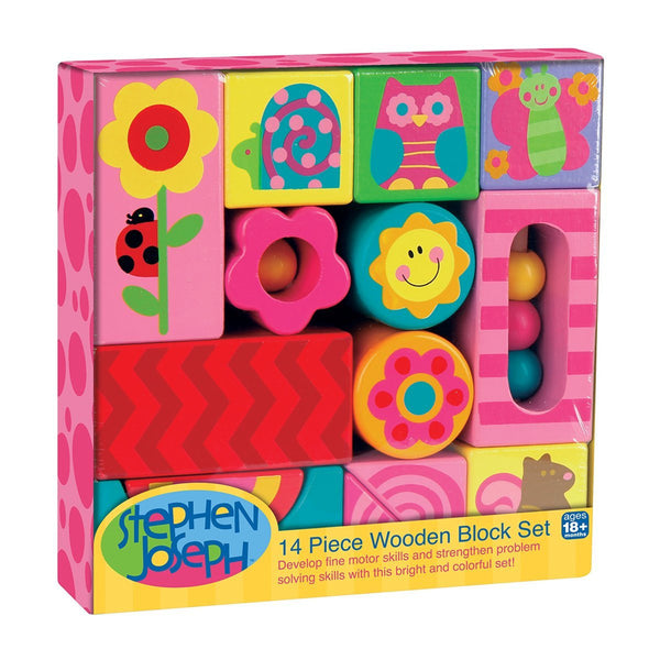 Stephen Joseph Art Wooden Blocks-Girl - JEN'S KIDS BOUTIQUE
