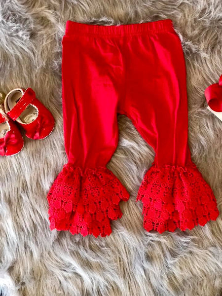 Serendipity Fall Christmas Red Leggings W/Trim Leggings - JEN'S KIDS BOUTIQUE