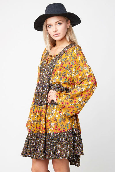 Hayden Fall Women's Black Printed Peasant Dress - JEN'S KIDS BOUTIQUE