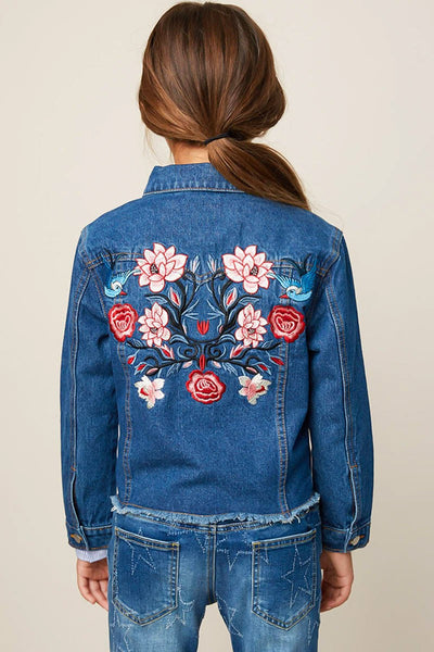 Back To School Little Miss Hayden Embroidered Raw Edge Denim Kids Jacket - JEN'S KIDS BOUTIQUE