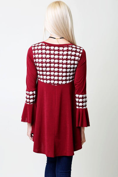 2018 Fall Burgundy Elephant Tunic Top With Bell Sleeves - JEN'S KIDS BOUTIQUE