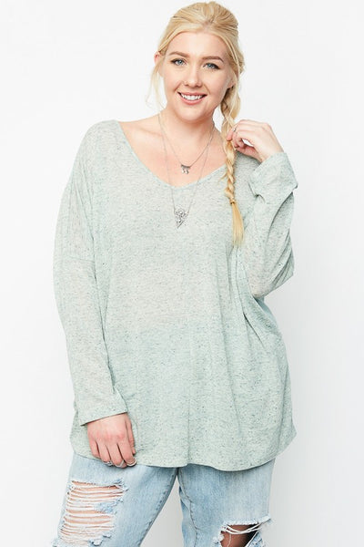 Just For Mommy Women's Sage Plus Size Sheer Back Top - JEN'S KIDS BOUTIQUE
