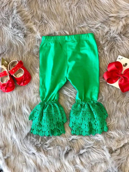 Serendipity Fall Green Christmas Leggings W/Trim Leggings - JEN'S KIDS BOUTIQUE
