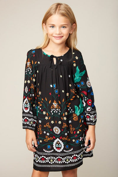 Hayden Fall Girls Black Printed Peasant Dress - JEN'S KIDS BOUTIQUE