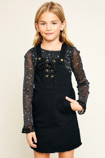 Hayden Black Denim Overall Dress - JEN'S KIDS BOUTIQUE