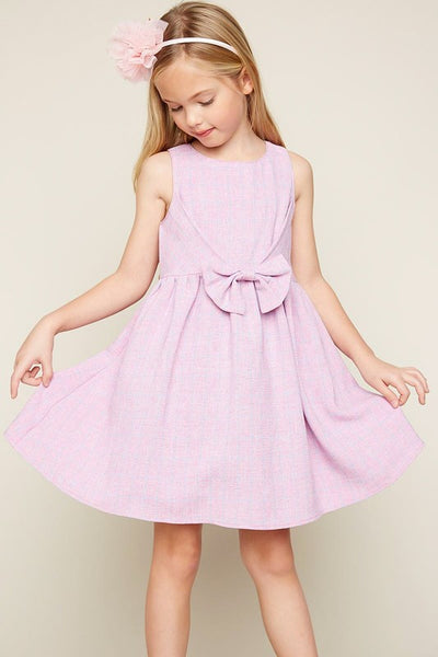2019 Spring Hayden Flit & Flare Bubblegum Dress With Bow - JEN'S KIDS BOUTIQUE