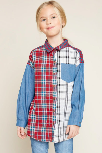 Back To School & Mommy & Me Girls Hayden Long Sleeve Button Mixed Plaid Kids Top - JEN'S KIDS BOUTIQUE