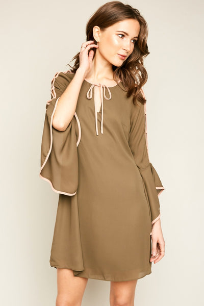 Just For Mommy Women's Angel Sleeve Shift Dress With Front Bow - JEN'S KIDS BOUTIQUE