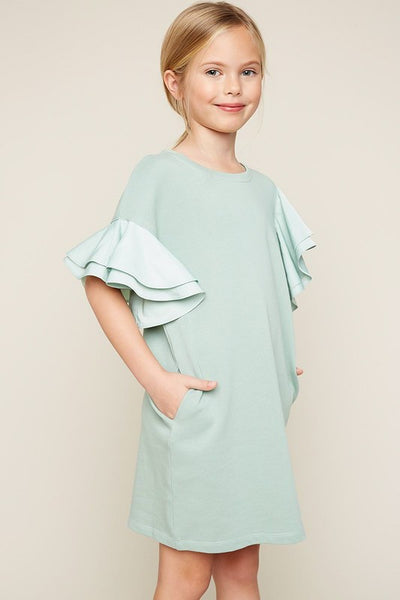 2019 Summer Girls Kids Asymmetric Shoulder Ruffled Kids Shift Dress. Seafoam - JEN'S KIDS BOUTIQUE