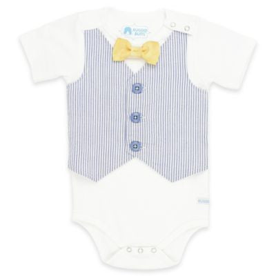 Rugged Butts Boys White Pinstripe Short Sleeve Bodysuit - JEN'S KIDS BOUTIQUE