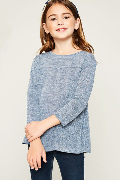 Back To School Little Miss Hayden Girls Blue High Low Knit Top - JEN'S KIDS BOUTIQUE