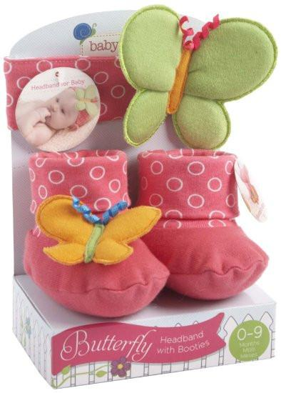 Baby Aspen Headband and Booties Set, Butterfly, 0-9 Months - JEN'S KIDS BOUTIQUE