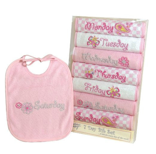 Stephan Baby Infant Girl Flutterby Garden 7-Piece Days-of-the-Week Bib Set, 3-12 Months - JEN'S KIDS BOUTIQUE