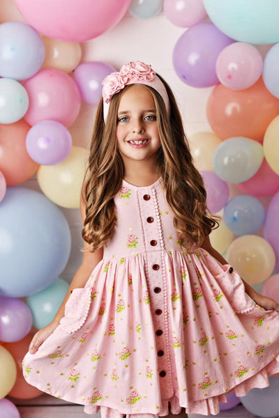 Spring & Easter Swoon By Serendipity Pink Posie Prim Tier Dress - JEN'S KIDS BOUTIQUE