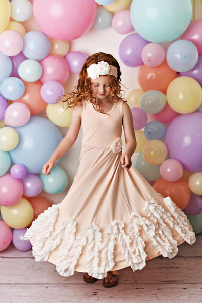 Serendipity Spring Peach Sorbet Blush Twirl Maxi Dress - JEN'S KIDS BOUTIQUE