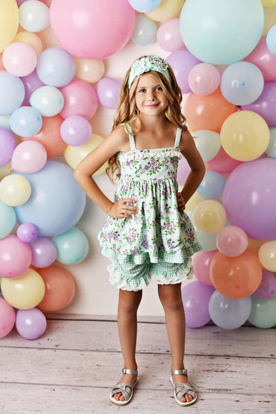 Serendipity Lavender Mint Fields Floral Tunic W/Eyelet Ruffle Shortie - JEN'S KIDS BOUTIQUE