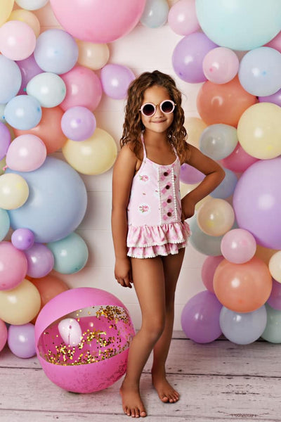 Spring & Summer Swoon By Serendipity Pink Posie One Piece Swimsuit - JEN'S KIDS BOUTIQUE