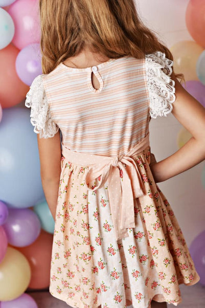Serendipity Spring Peach Sorbet Lace Flutter Tunic W/Floral Shorties - JEN'S KIDS BOUTIQUE