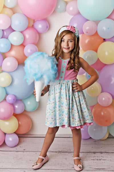 Serendipity Cotton Candy Dress W/Eyelet Trim & Shortie - JEN'S KIDS BOUTIQUE