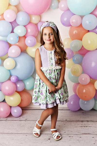 Serendipity Lavender Mint Fields Dress W/Shortie - JEN'S KIDS BOUTIQUE