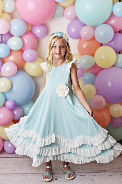 Serendipity Spring Cotton Candy Blue Maxi Twirl Dress - JEN'S KIDS BOUTIQUE