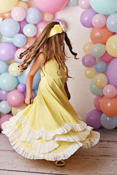 Serendipity Spring Garden Yellow W/Dots Maxi Twirl Dress - JEN'S KIDS BOUTIQUE