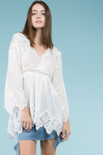 2019 Spring & Summer Bell Sleeve Tunic Top With Pleat And Crochet Inset Details - JEN'S KIDS BOUTIQUE