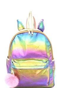 2108 Unicorn Theme Iridescent Metallic Backpack - JEN'S KIDS BOUTIQUE