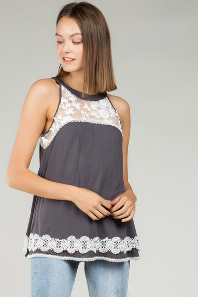 Spring & Summer Women's Round Neck Babydoll Top With Contrast Foral Lace Panels - JEN'S KIDS BOUTIQUE