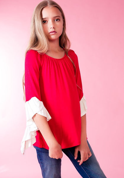 Fall Kids' Game Day 3/4 Ruffle Sleeve Top Red & White - JEN'S KIDS BOUTIQUE