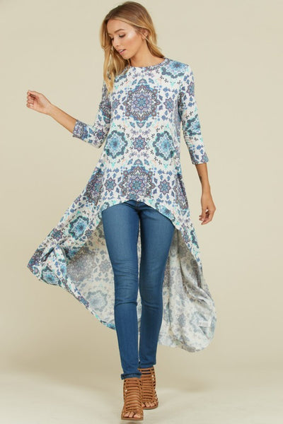 Fall Women's French Terry High Low Boho Tunic Top - JEN'S KIDS BOUTIQUE