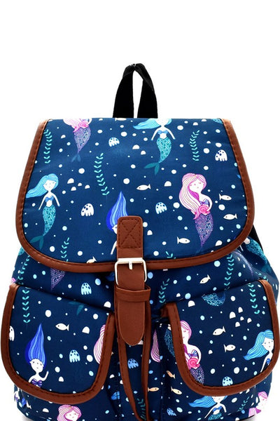 2018 Mermaid Print Canvas Novelty Backpack - JEN'S KIDS BOUTIQUE
