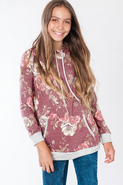 2018 Fall Tween Girls' Floral Print Long Sleeves Hoodie - JEN'S KIDS BOUTIQUE