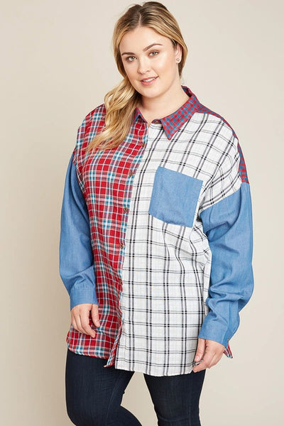 Mommy & Me Hayden Women's Long Sleeve Button Mixed Plaid Top - JEN'S KIDS BOUTIQUE