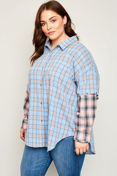 Just For Mommy Plus Size Plaid Button Up Top Removable Sleeves - JEN'S KIDS BOUTIQUE