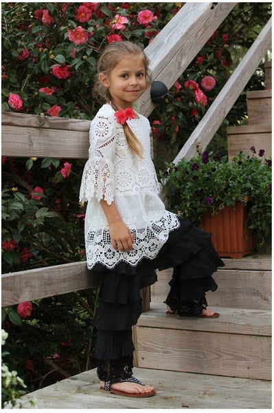 L and B Adorable Tiered Pants with Lace Print Black - JEN'S KIDS BOUTIQUE