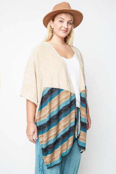 Just For Mommy & Mommy & Me Women's Plus Size Camel Tassle Trimmed Cardigan - JEN'S KIDS BOUTIQUE