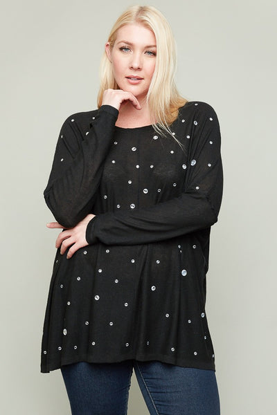 Just For Mommy Women's Black Plus Size Rhinestone Sweater - JEN'S KIDS BOUTIQUE
