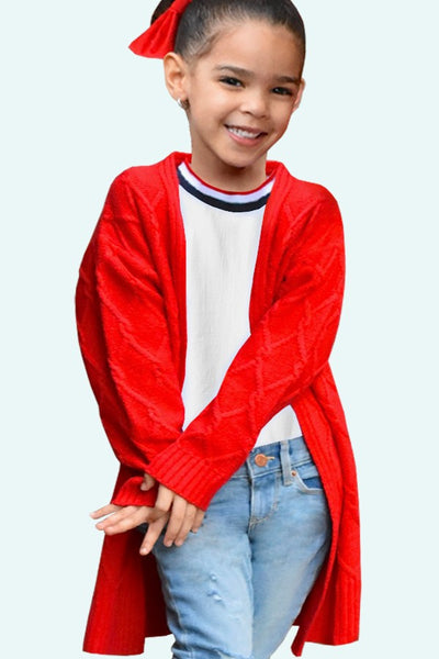 Fall Back To School Girls Chunky Knit Cable Knit Cardigan Red C - JEN'S KIDS BOUTIQUE