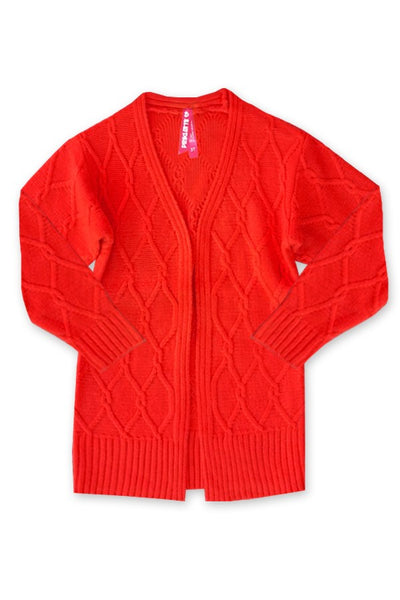 Fall Back To School Girls Chunky Knit Cable Knit Cardigan Red - JEN'S KIDS BOUTIQUE