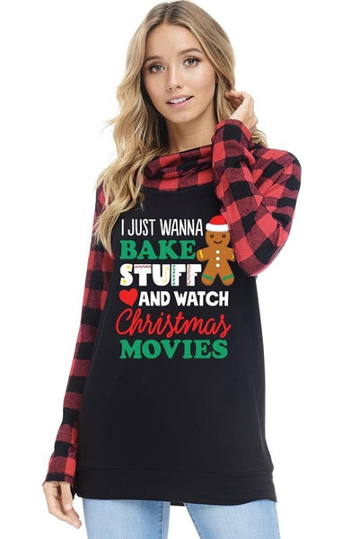 2018 Christmas Women's Christmas Graphic Top With Plaid Sleeves With A Hood - JEN'S KIDS BOUTIQUE