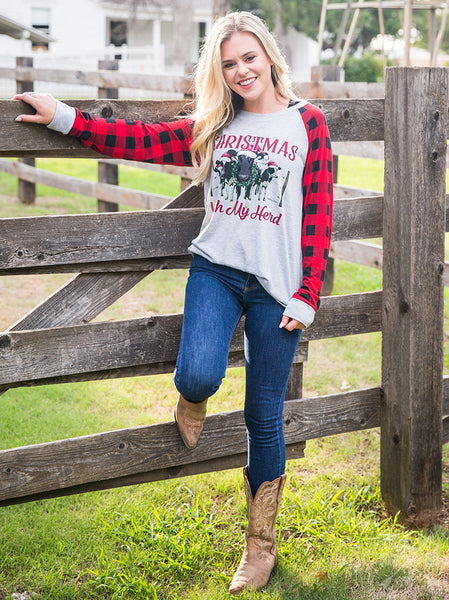 2018 Christmas With My Herd On Gray Long Sleeve Tee With Plaid Sleeves - JEN'S KIDS BOUTIQUE