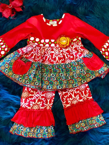 Three Sisters Christmas Medallion Pocket Ruffle Pant Set - JEN'S KIDS BOUTIQUE