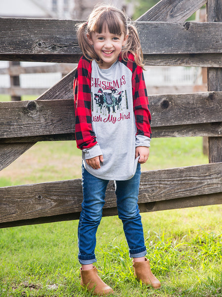 Southern Grace Christmas With My Herd On Gray Long Sleeve Tee With Plaid Sleeves CH - JEN'S KIDS BOUTIQUE