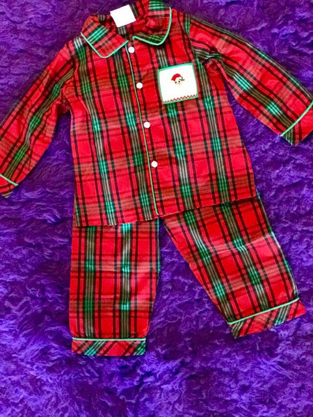 Three Sisters 2018 Christmas Ho Ho Boys Smocked Plaid Two Piece Pjs CH - JEN'S KIDS BOUTIQUE
