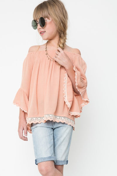 Hayden 2018 Apricot Off The Shoulder Tunic Soft Adorable Top - JEN'S KIDS BOUTIQUE