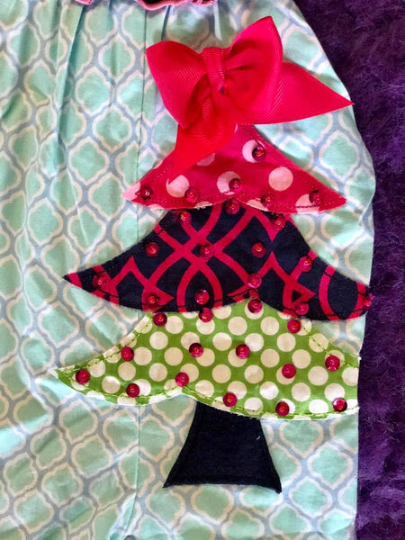 Millie Jay 2017 Christmas Tree Applique Jay Romper - JEN'S KIDS BOUTIQUE